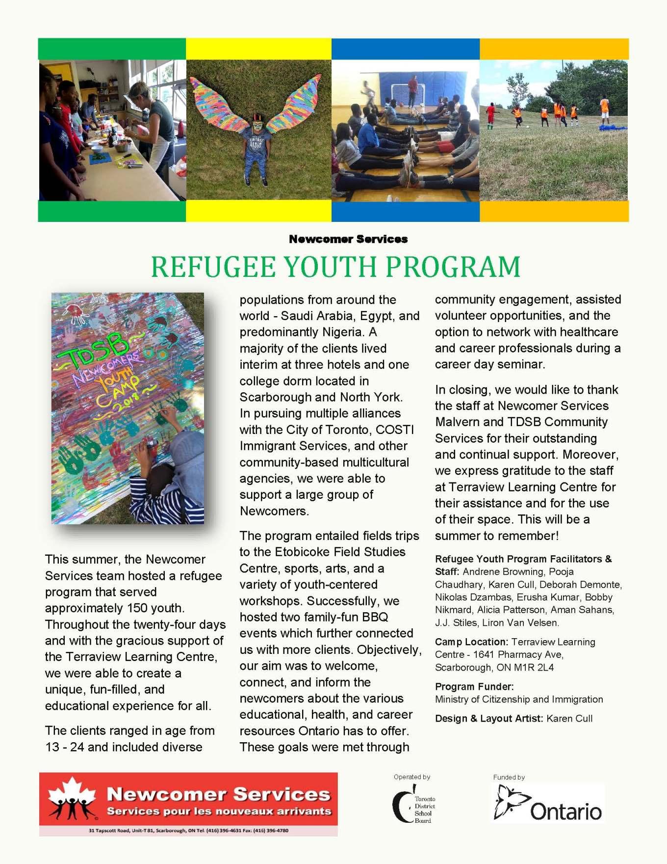 Refugee Youth Program _ Summer Newsletter 2018_Pg1_Page_1